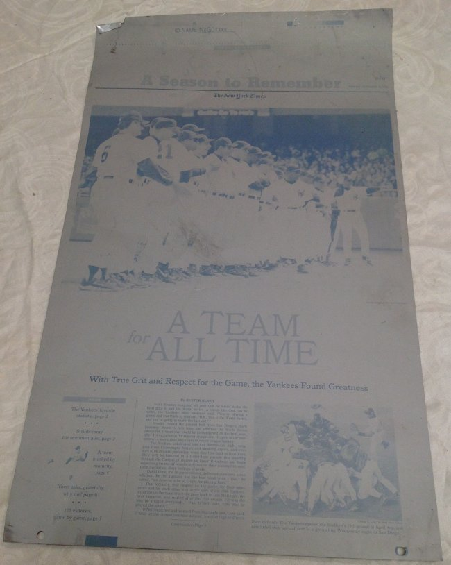 NY Times Metal Sheet Plate/A Season to Remember