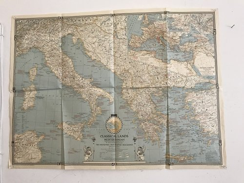 Classical Land Map of the Mediterranean 1940.