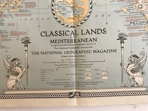 Classical Land Map of the Mediterranean 1940. - 2