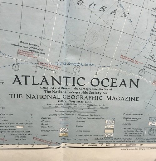 Atlantic Ocean Map 1939 - 2