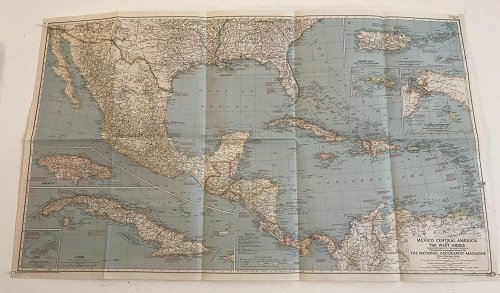 Mexico C. America, W. Indies Map 1939