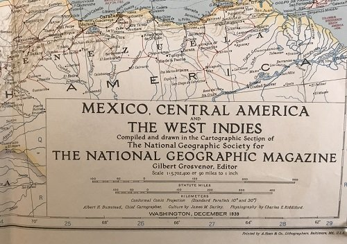 Mexico C. America, W. Indies Map 1939 - 4