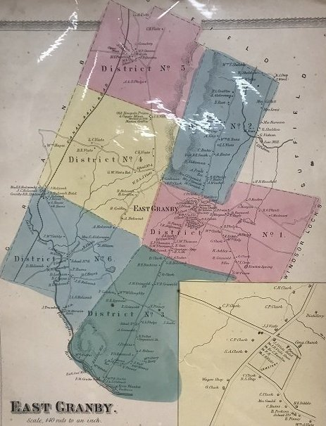1869 Map of East Granby CT - 2