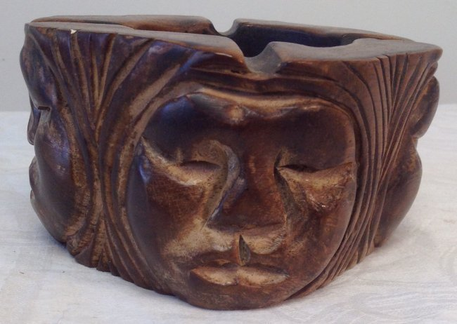 Asian Style Hand Carved Ash Tray - 4