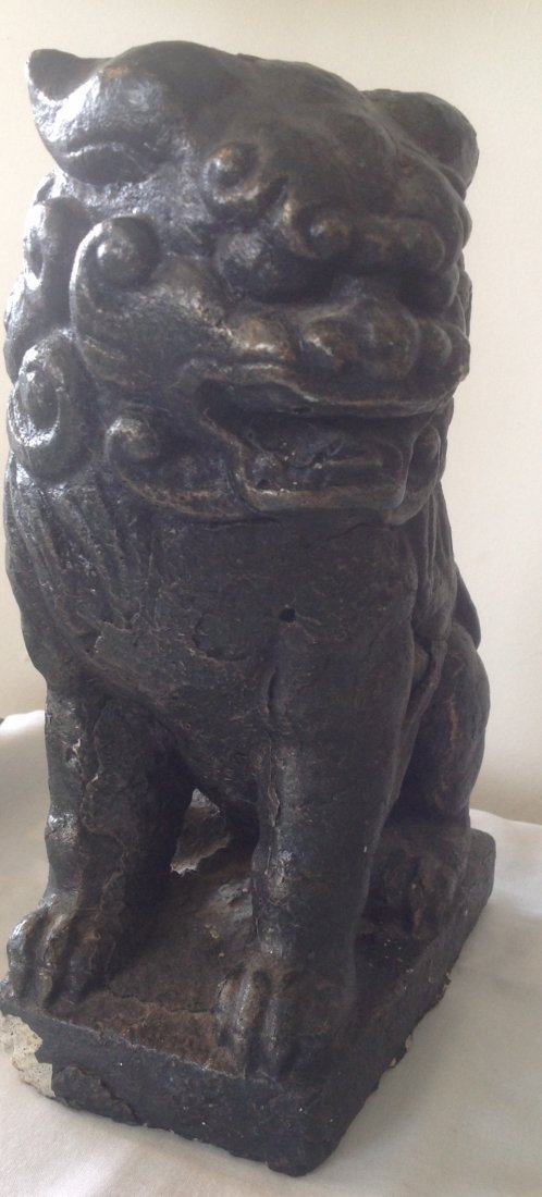 Ceramic Chinese Foo Dog Figurine 9 H - 3