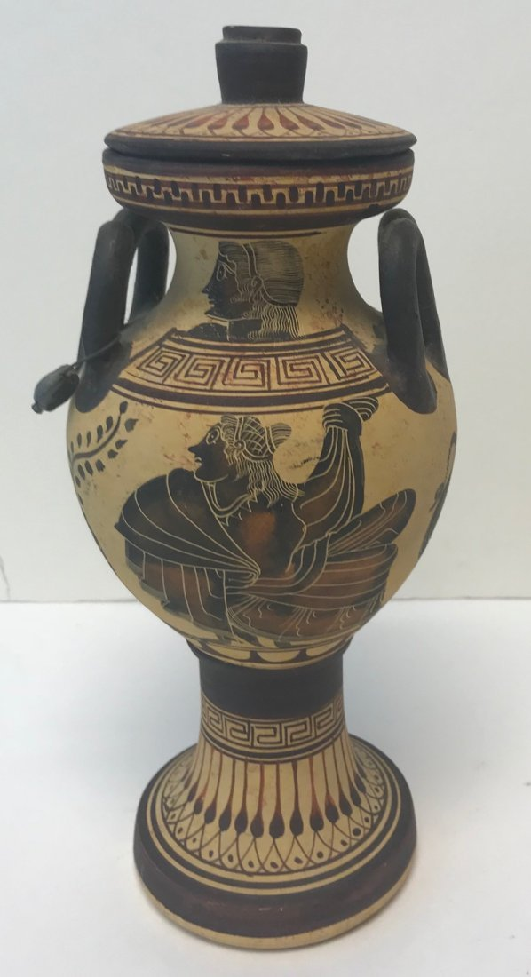 Signed Twin Handle Greek Ceramic Vase 11 H