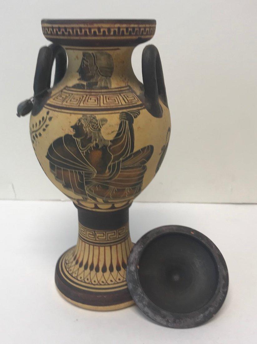 Signed Twin Handle Greek Ceramic Vase 11 H - 5