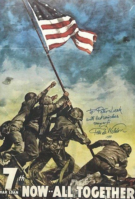 Original WW 11 7th War Loan Iwo Jima Poster 28 x 20