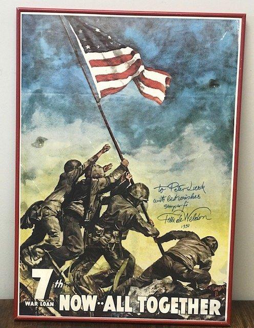 Original WW 11 7th War Loan Iwo Jima Poster 28 x 20 - 2