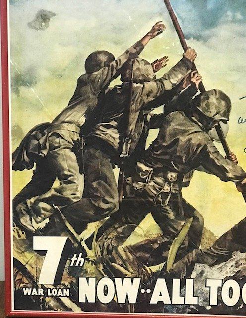 Original WW 11 7th War Loan Iwo Jima Poster 28 x 20 - 3