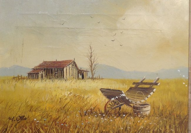 Signed M OTTO Painting Barn Image 19 x 16