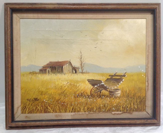 Signed M OTTO Painting Barn Image 19 x 16 - 2