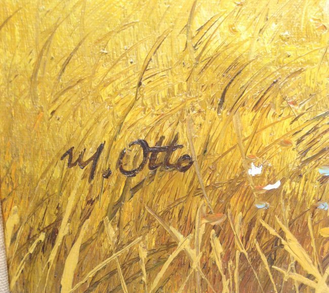 Signed M OTTO Painting Barn Image 19 x 16 - 3