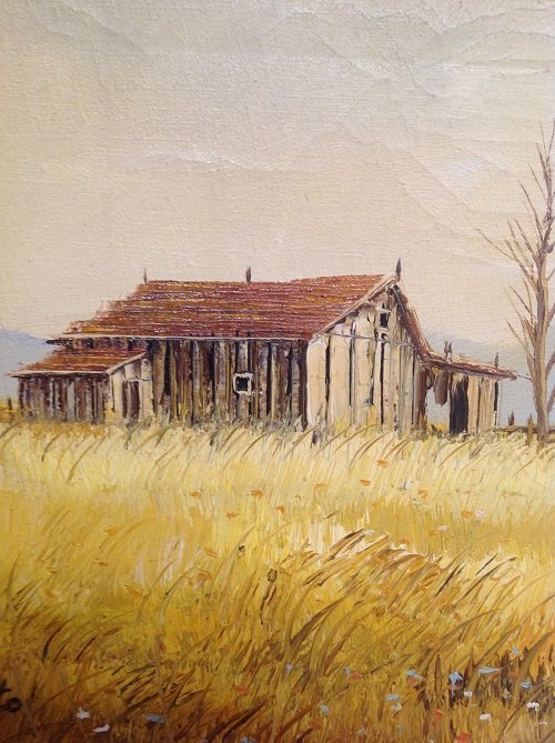 Signed M OTTO Painting Barn Image 19 x 16 - 4