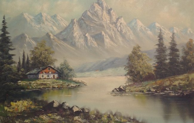 Signed G FLOWER Painting Mountain View 31 x 43