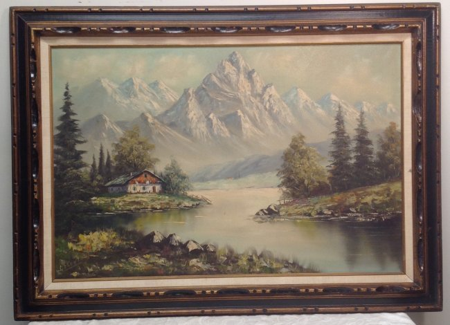 Signed G FLOWER Painting Mountain View 31 x 43 - 2