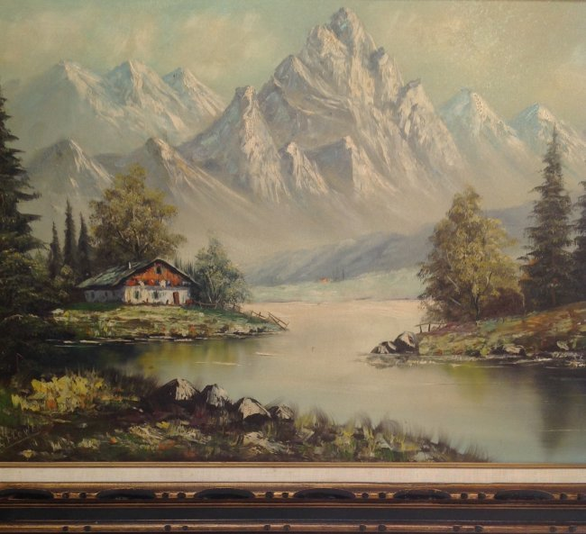 Signed G FLOWER Painting Mountain View 31 x 43 - 3