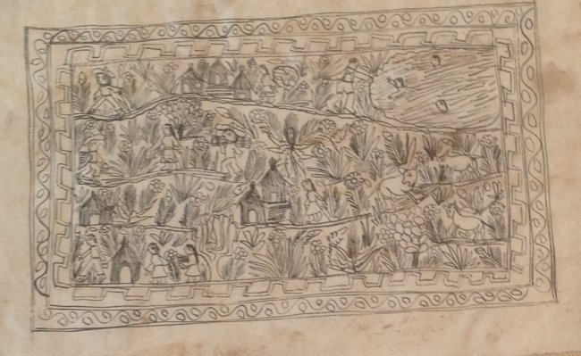 Signed Mexican Folk Art Illustration Etching 12 x 8