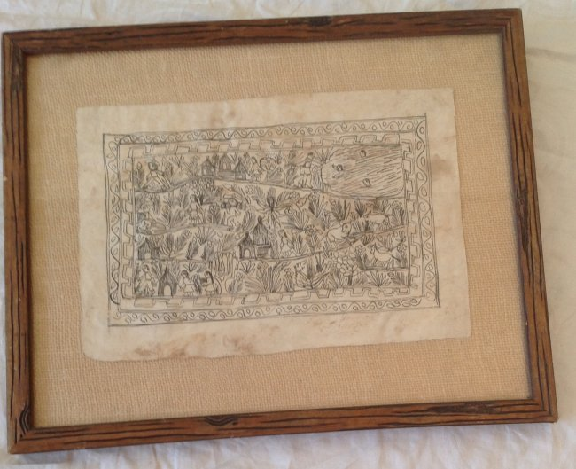 Signed Mexican Folk Art Illustration Etching 12 x 8 - 2