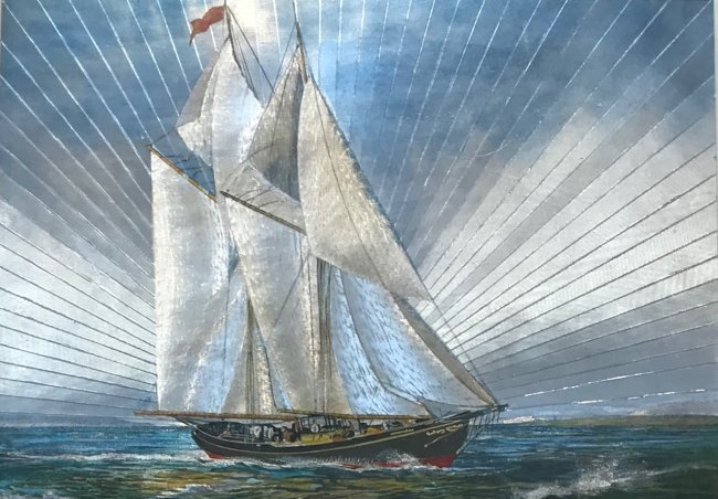 Sail boat Lithograph