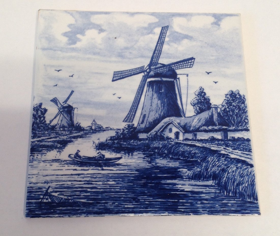 Vintage Dutch Delft Plaque Tile