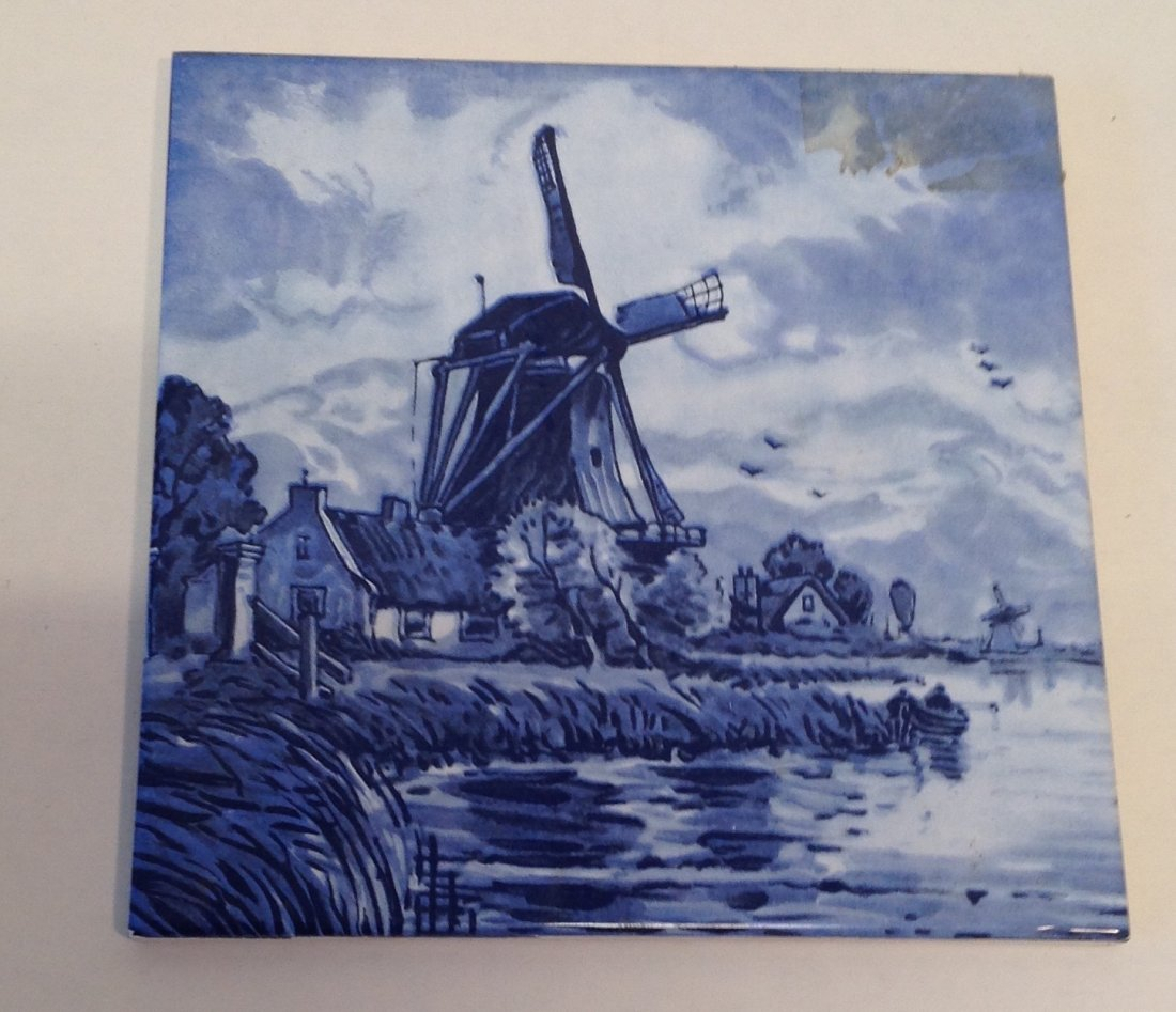 Vintage Dutch Delft Plaque Tile - 2