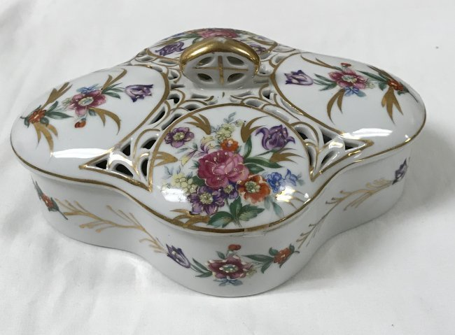 Elegant European Candy Floral Dish w/Cover - Marked