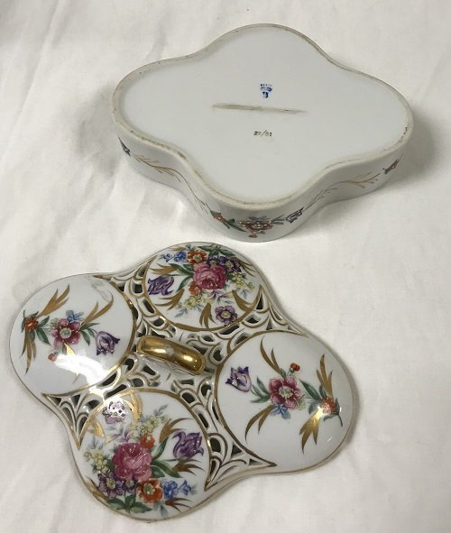 Elegant European Candy Floral Dish w/Cover - Marked - 3