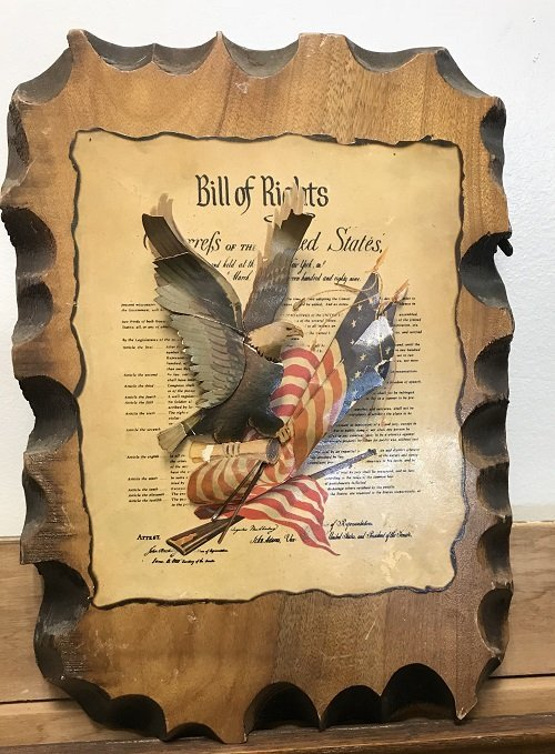 3D UNITED STATES BILL OF RIGHTS ON A WOOD PLAQUE