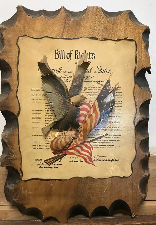 3D UNITED STATES BILL OF RIGHTS ON A WOOD PLAQUE - 2