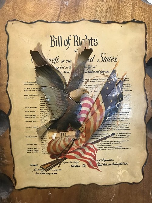3D UNITED STATES BILL OF RIGHTS ON A WOOD PLAQUE - 3