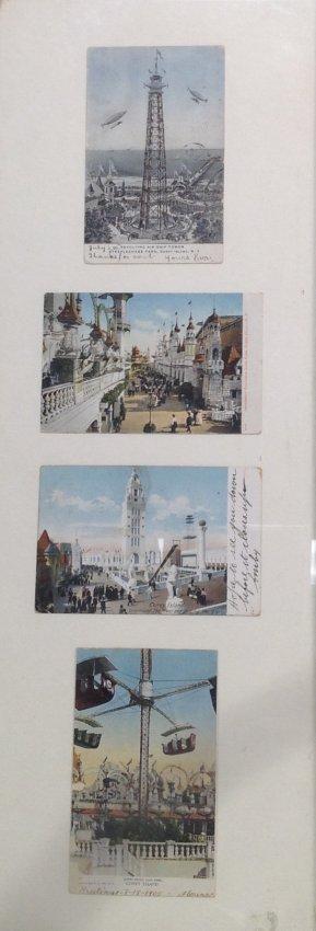 Vintage 4 Post Cards of Coney Island Framed c. 1905