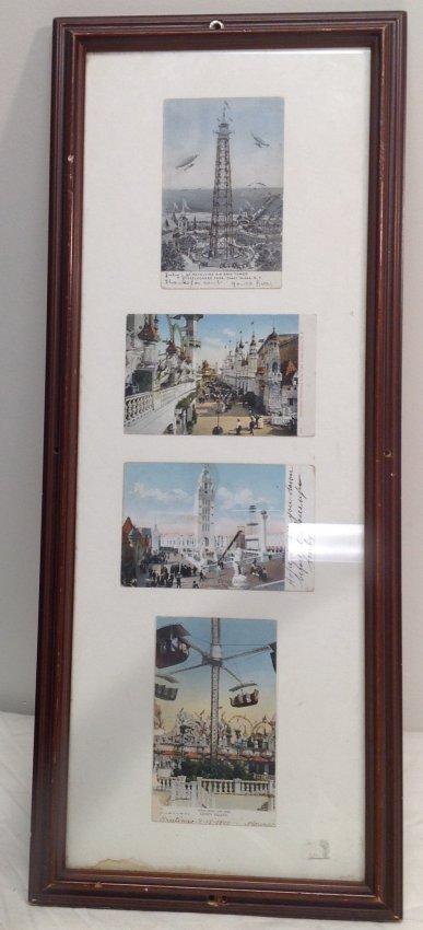 Vintage 4 Post Cards of Coney Island Framed c. 1905 - 2