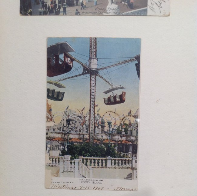Vintage 4 Post Cards of Coney Island Framed c. 1905 - 3