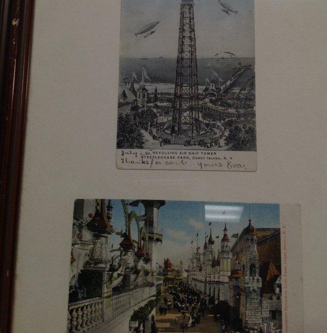 Vintage 4 Post Cards of Coney Island Framed c. 1905 - 6