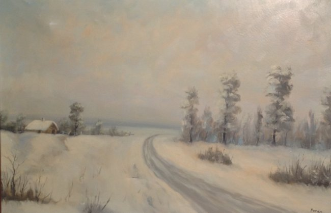 N. NORAN OIL PAINTING FRAMED & SIGNED 42 x 30