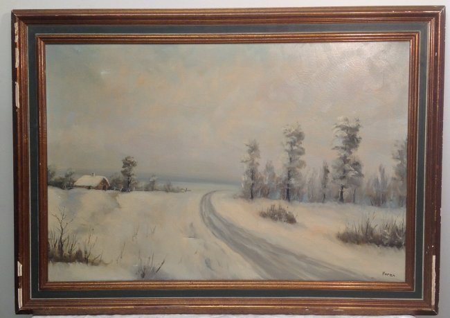 N. NORAN OIL PAINTING FRAMED & SIGNED 42 x 30 - 2