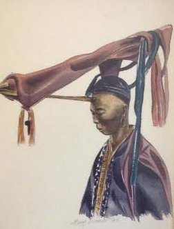 SIGNED Oil style print Chinese Warrior 15 X 13