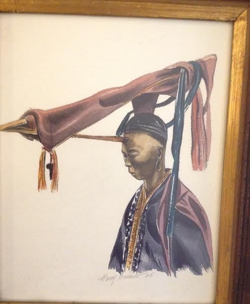 SIGNED Oil style print Chinese Warrior 15 X 13 - 2
