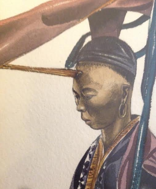 SIGNED Oil style print Chinese Warrior 15 X 13 - 4