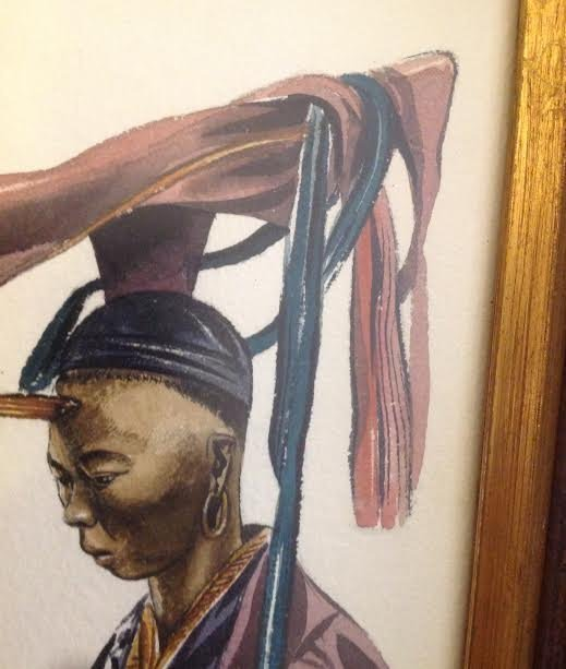 SIGNED Oil style print Chinese Warrior 15 X 13 - 5