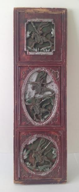 Antique Chinese Wood Panel Artistry Carving 35 x 11