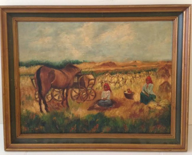 L.R ENGEL FRAMED OIL PAINTING 28 x 22