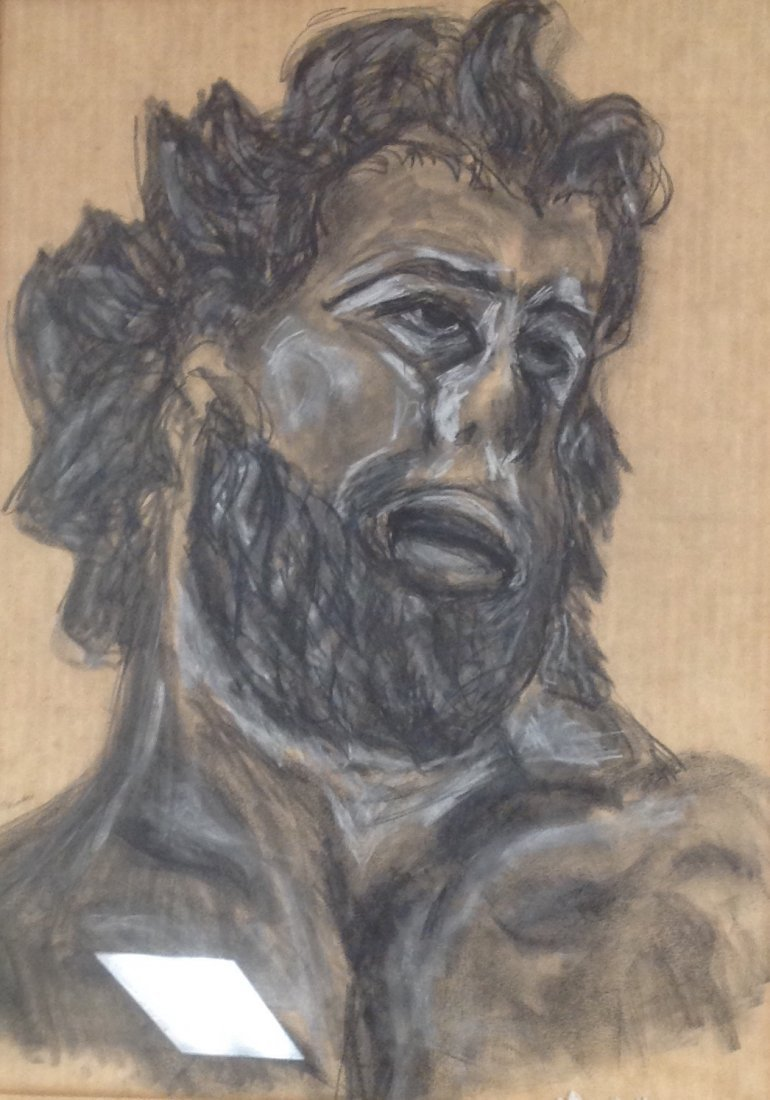 Louis Bauman Charcoal Sketch -The Beard Man 29 x 23