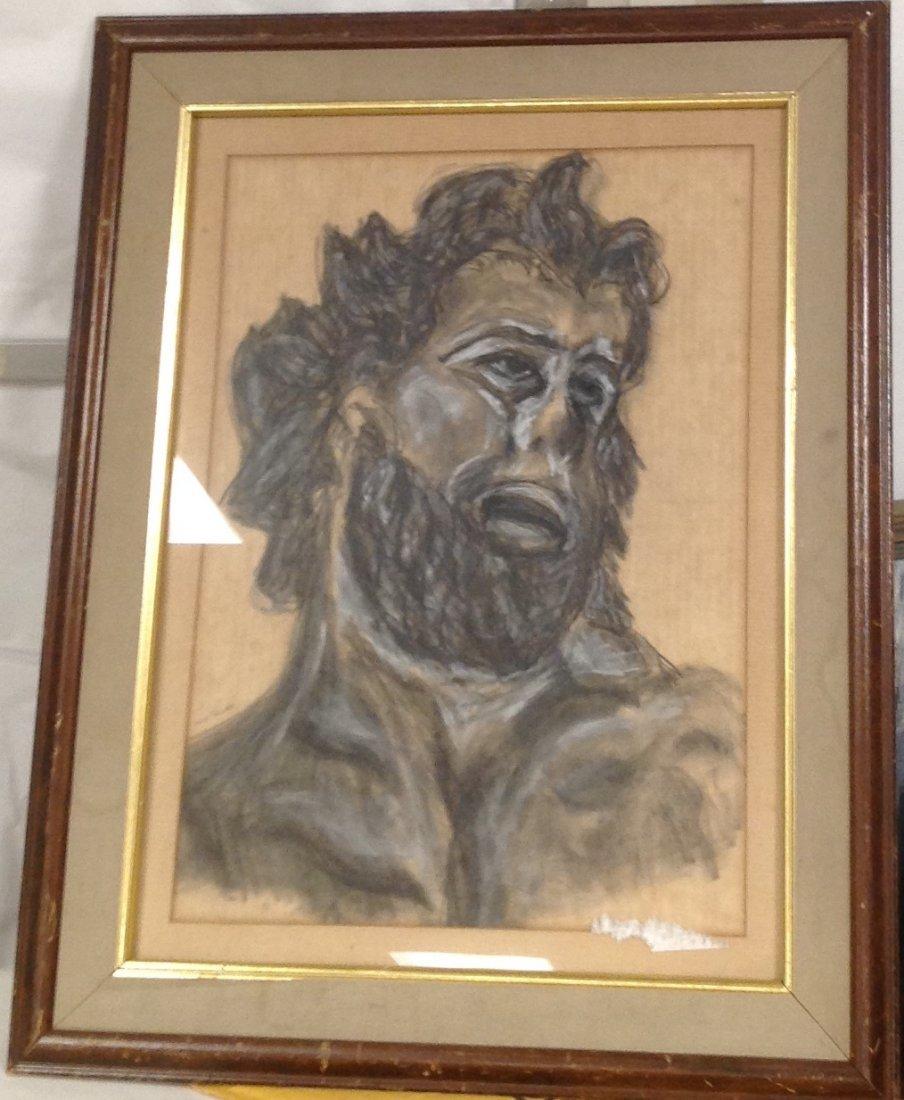 Louis Bauman Charcoal Sketch -The Beard Man 29 x 23 - 2