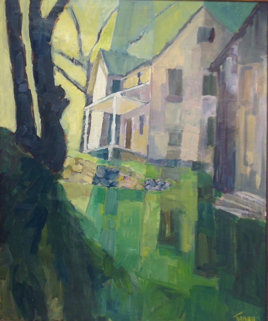 Carol Tumey Signed Painting of House 42 x 50