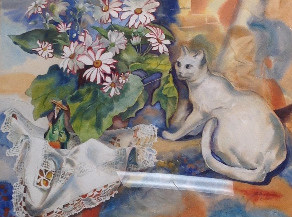 N.A. Panstiehl - The White Cat WATERCOLOR