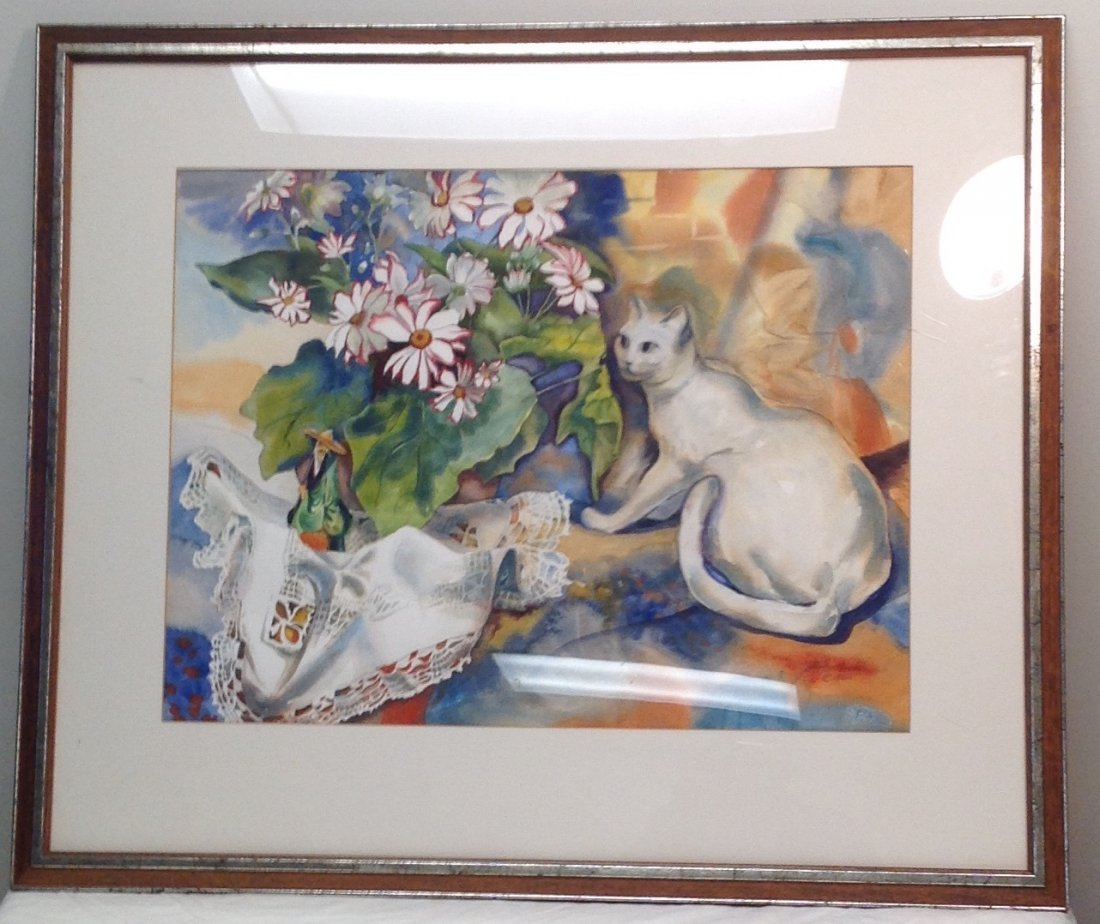N.A. Panstiehl - The White Cat WATERCOLOR - 2