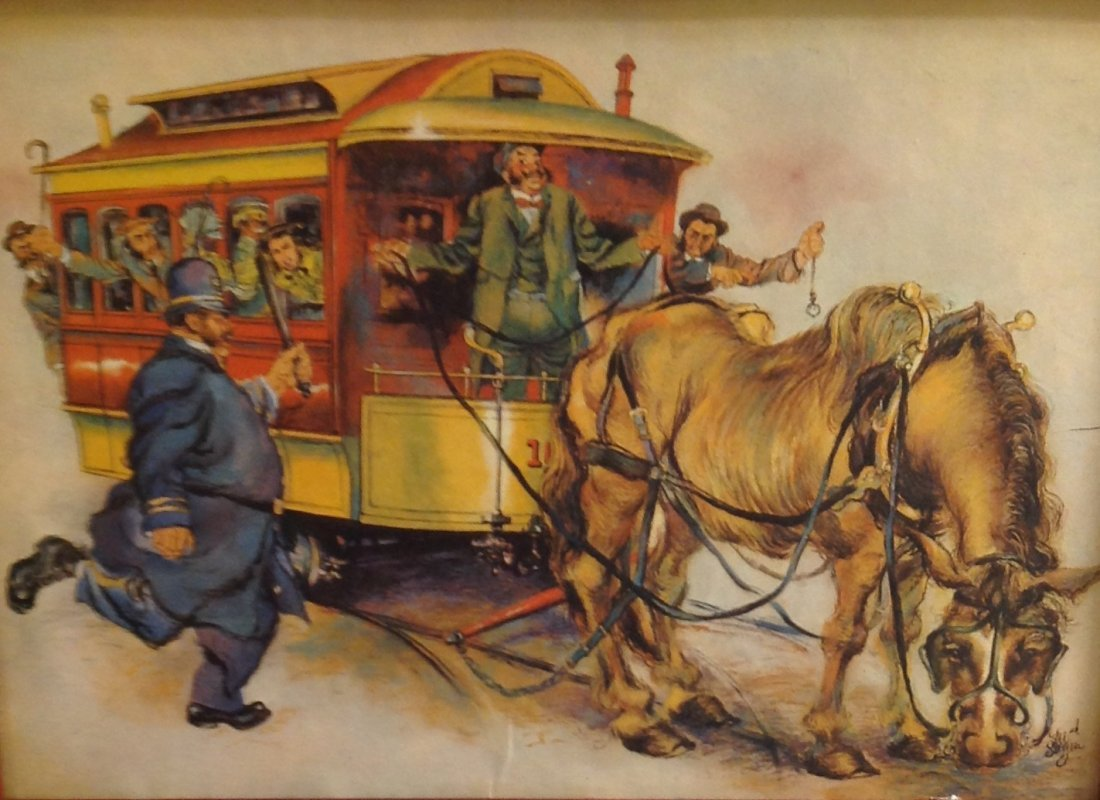CARICATURE HORSE DRAWN WAGON CARRIAGE/ PRINT ONLY