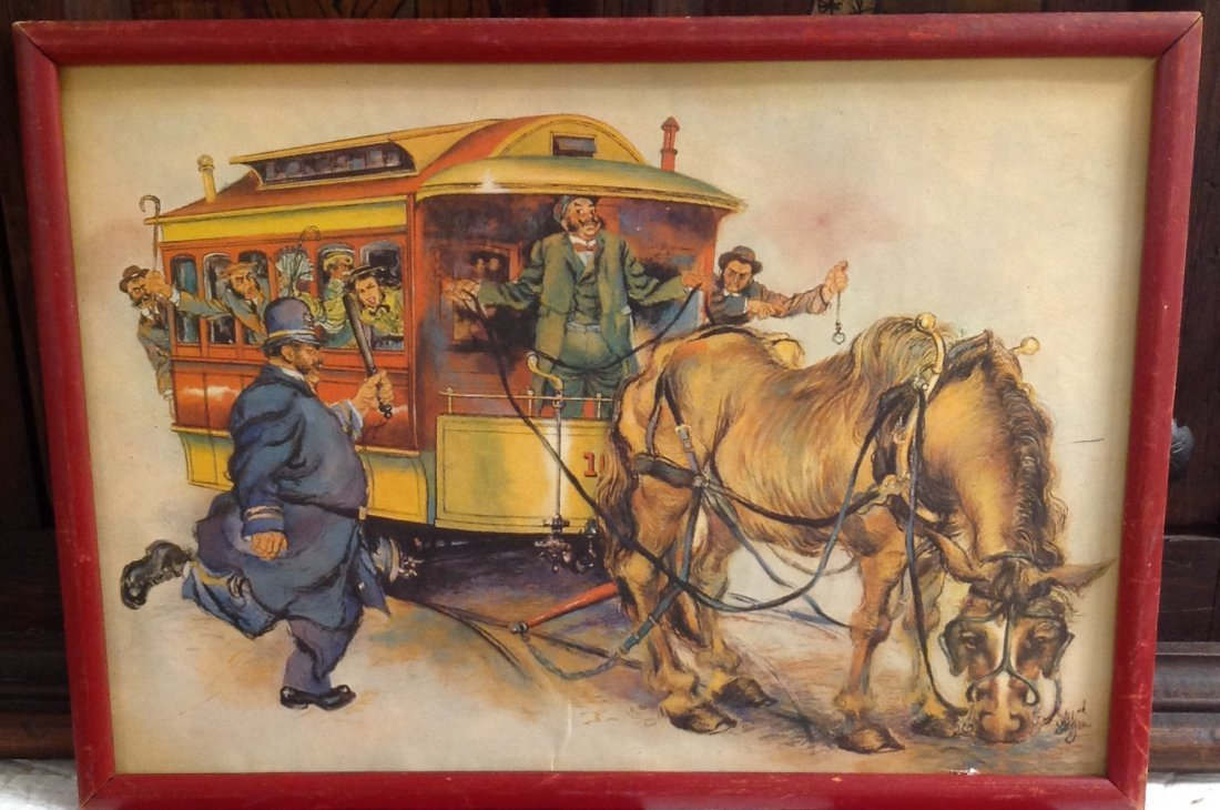 CARICATURE HORSE DRAWN WAGON CARRIAGE/ PRINT ONLY - 2